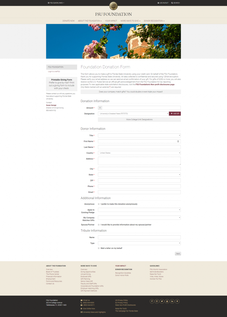 FSU Donation Forms